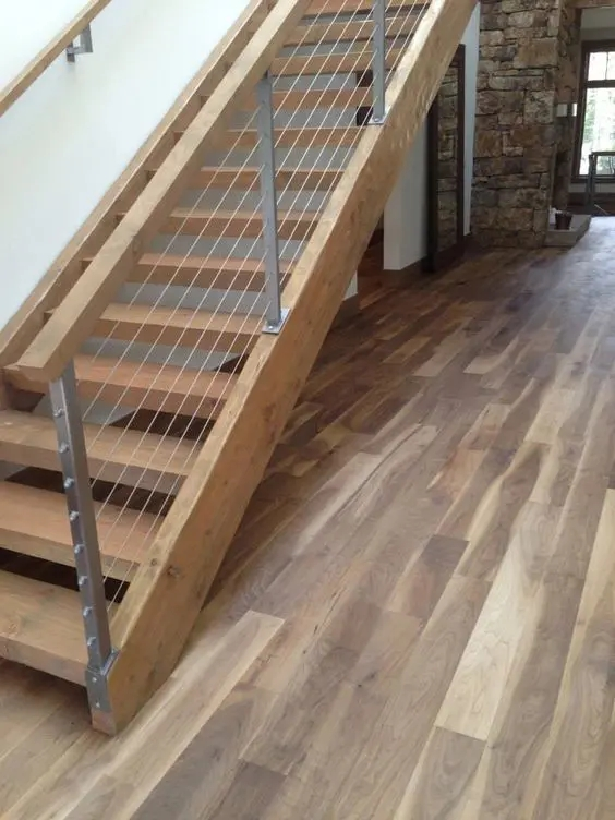 38 Edgy Cable Railing Ideas For Indoors And Outdoors Digsdigs   Wood And Wire Stair Railing   Hampton Style   Exterior   Closed Staircase   Horizontal Round Bar   Square Wire