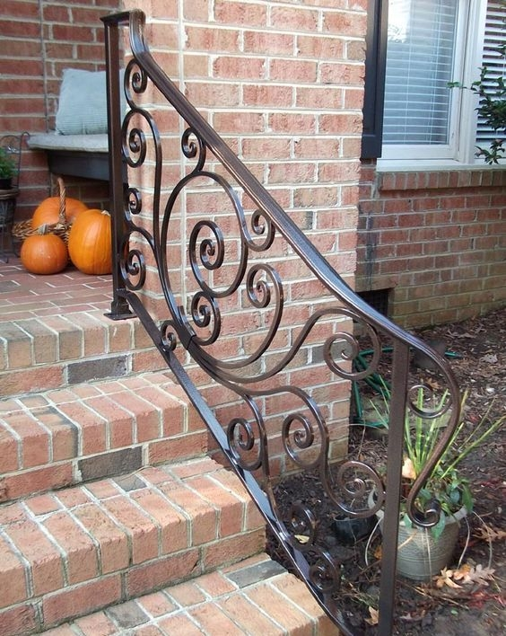 33 Wrought Iron Railing Ideas For Indoors And Outdoors   Outside Metal Railings For Steps   Galvanized Iron   Wrought Iron Staircase Used   Decorative Iron Stair Rail Support   Steel Railing   Mixed
