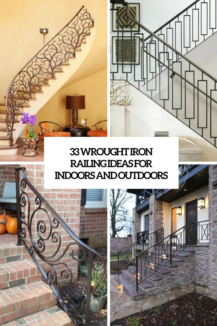 33 Wrought Iron Railing Ideas For Indoors And Outdoors | Iron Handrails For Steps | Minimalist Simple Stair | Double Basket | Contemporary | Horizontal Farmhouse | Outdoor