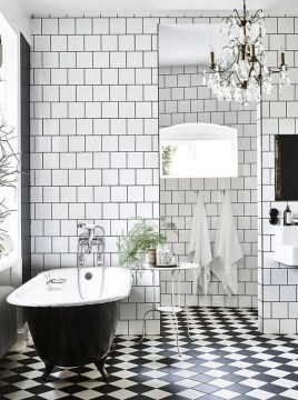 41 Cool Bathroom Floor Tiles Ideas You Should Try   DigsDigs black and white checked mosaic bathroom tiles
