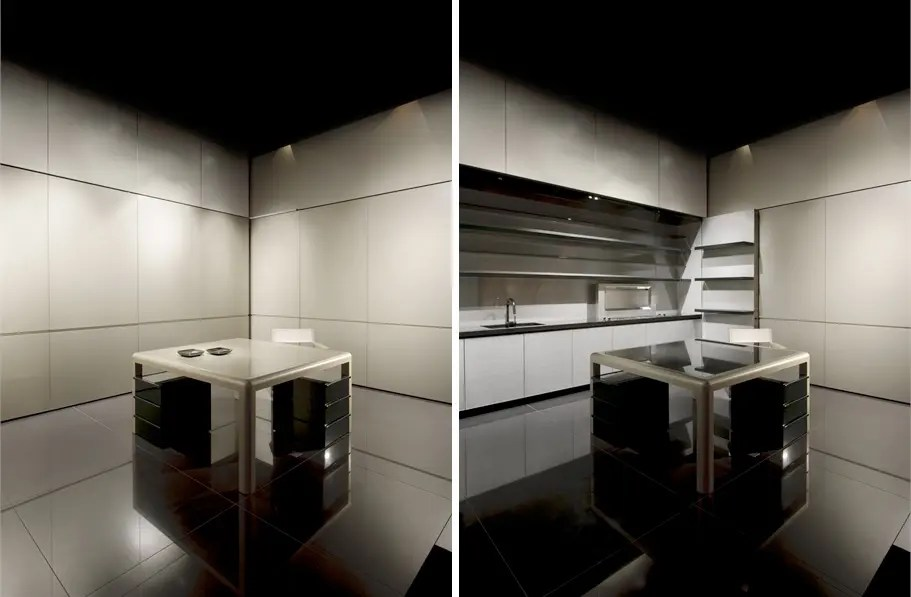 Disappearing Sleek And Polish Kitchen Design Calyx From