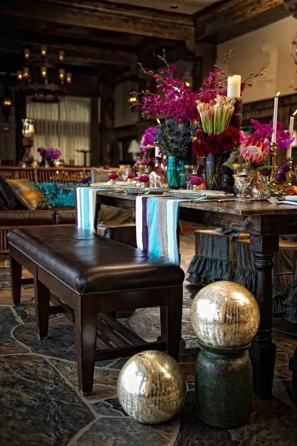Rustic Dark Wood Dining Table