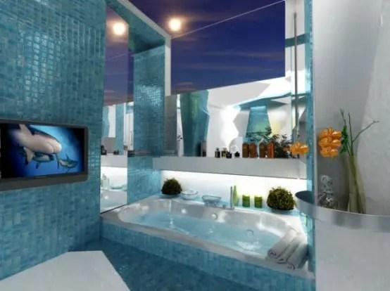 Two Contrasting Bathroom Designs In Futuristic Style