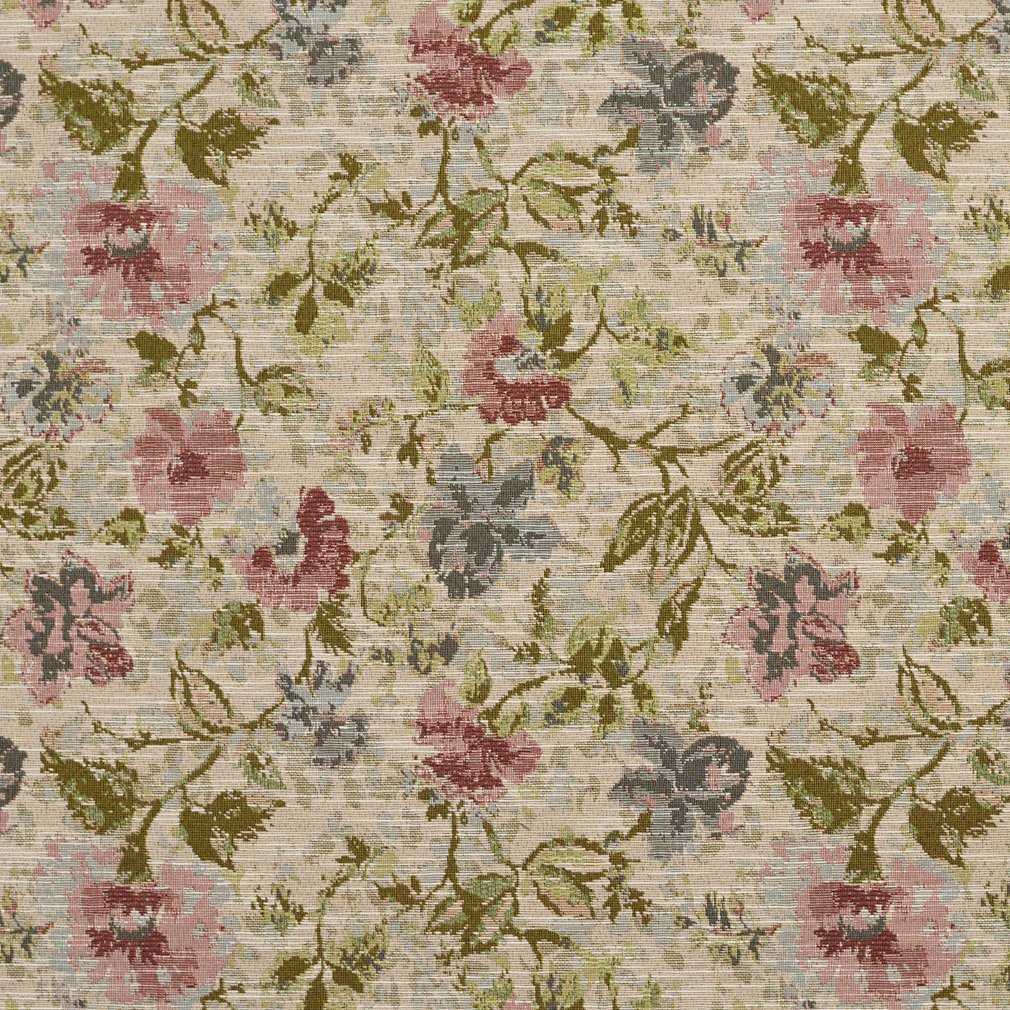 Pink Blue Floral Upholstery Fabric