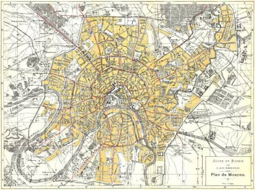 Old map of Moscow in 1897  Buy vintage map replica poster print or     Moscow                            Moskva   city map  in French   1897