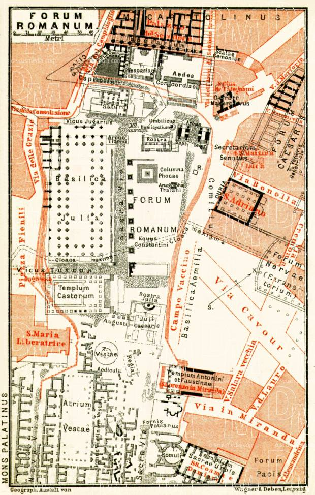 Old map of The Roman Forum in Rome in 1898. Buy vintage ...