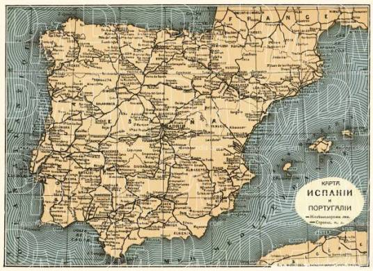 Spain on the general map of the Iberian Peninsula  Spain and Portugal map  with legend in Russian   1900 Spain on the general map of the Iberian Peninsula  Spain and Portugal map  with legend