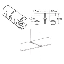 "5/16"" Cable system double horizontal support"