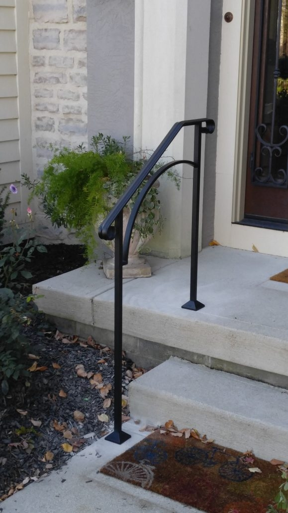 Diy Handrails Installation Outdoor Stair Railing Kits | Steel Handrails For Concrete Steps