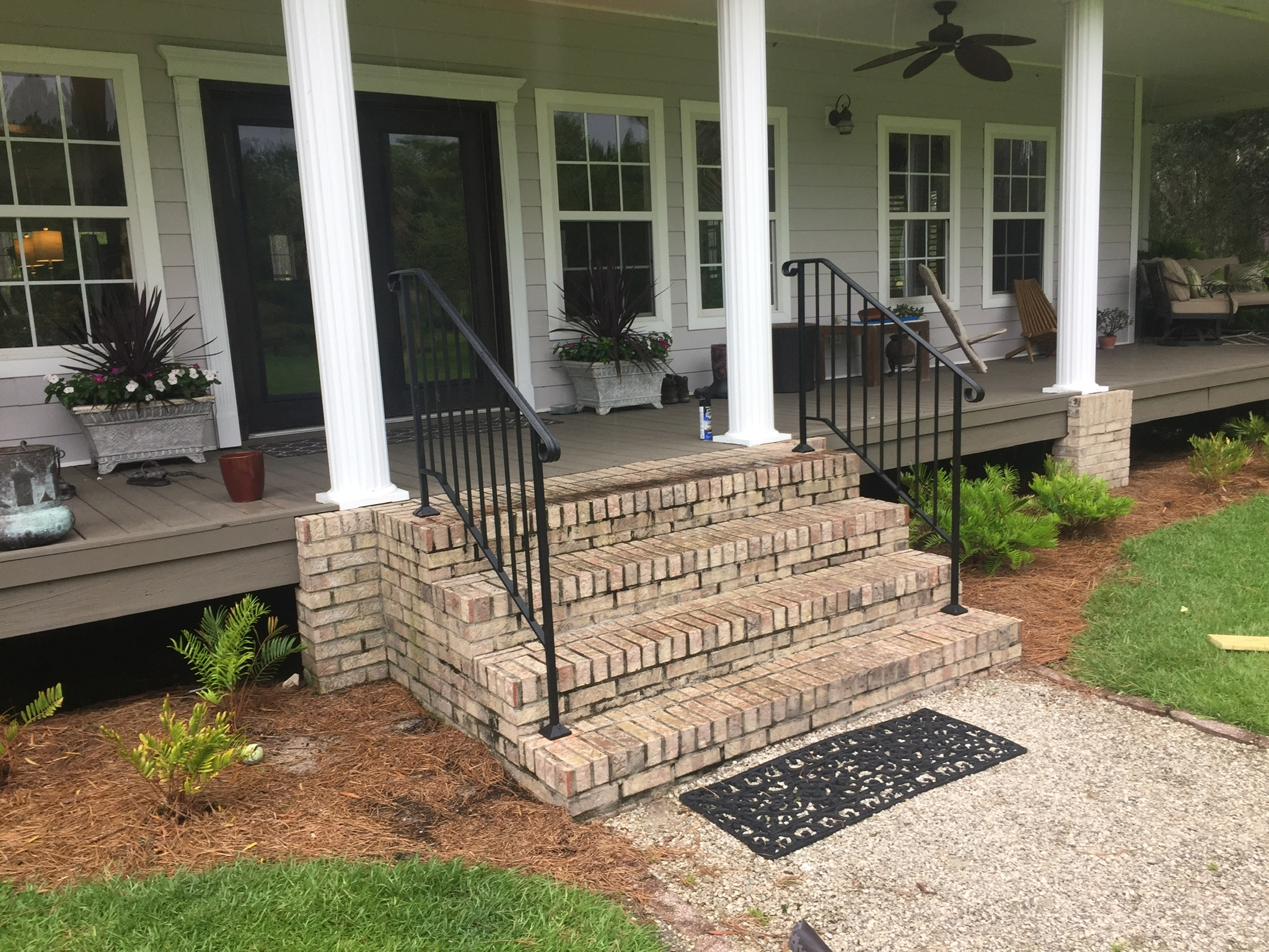 Shop Diy Wrought Iron Handrail Handrails For Indoor Outdoor Steps | Diy Handrails For Outdoor Stairs | Wood | Front Porch Railing Ideas | Porch | Stair Stringers | Pipe