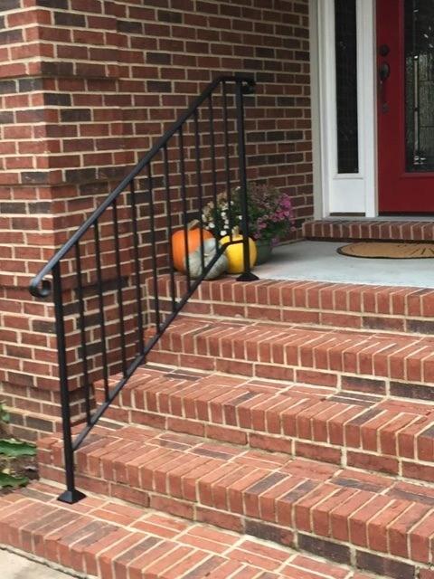 Iron X Handrails Diy Handrails   Railings For Brick Steps   Steel Handrail   Front Door   Staircase   Railing Ideas   Handrails