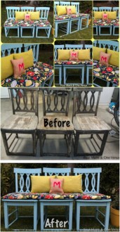 20 Brilliantly Creative Ways To Repurpose Old Chairs   DIY   Crafts 1  Create An Outdoor Bench