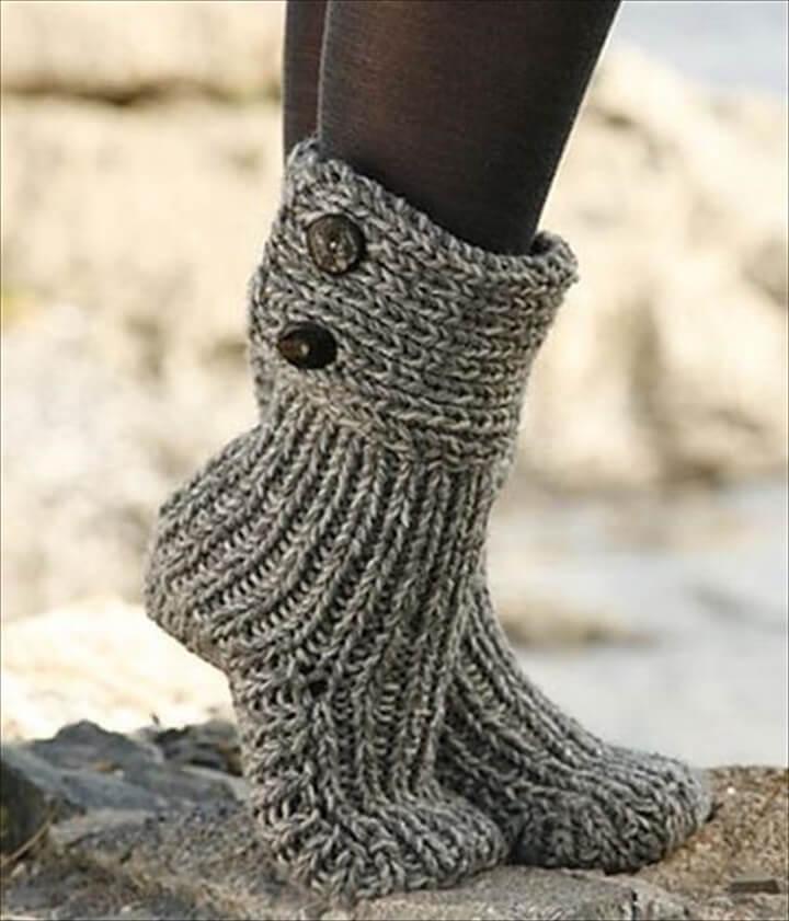 Knitted Booties Crocodile