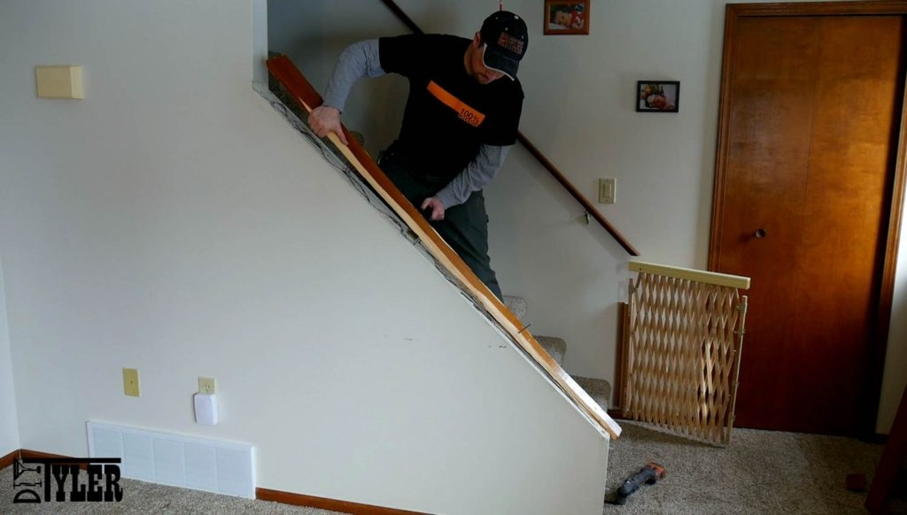 Build A Stair Railing For A Half Wall Diytyler   Half Wall Staircase Design   Railing   Limited Space Small Stair   Kitchen   Closed   Contemporary
