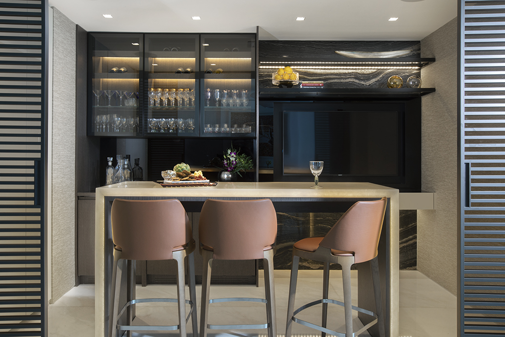 Modern Home Bar Design In Luxury Sunny Isles Condo
