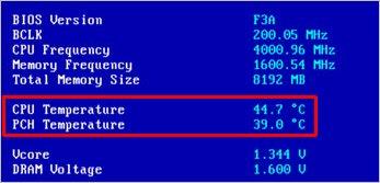 BIOS 2-де CPU температурасы