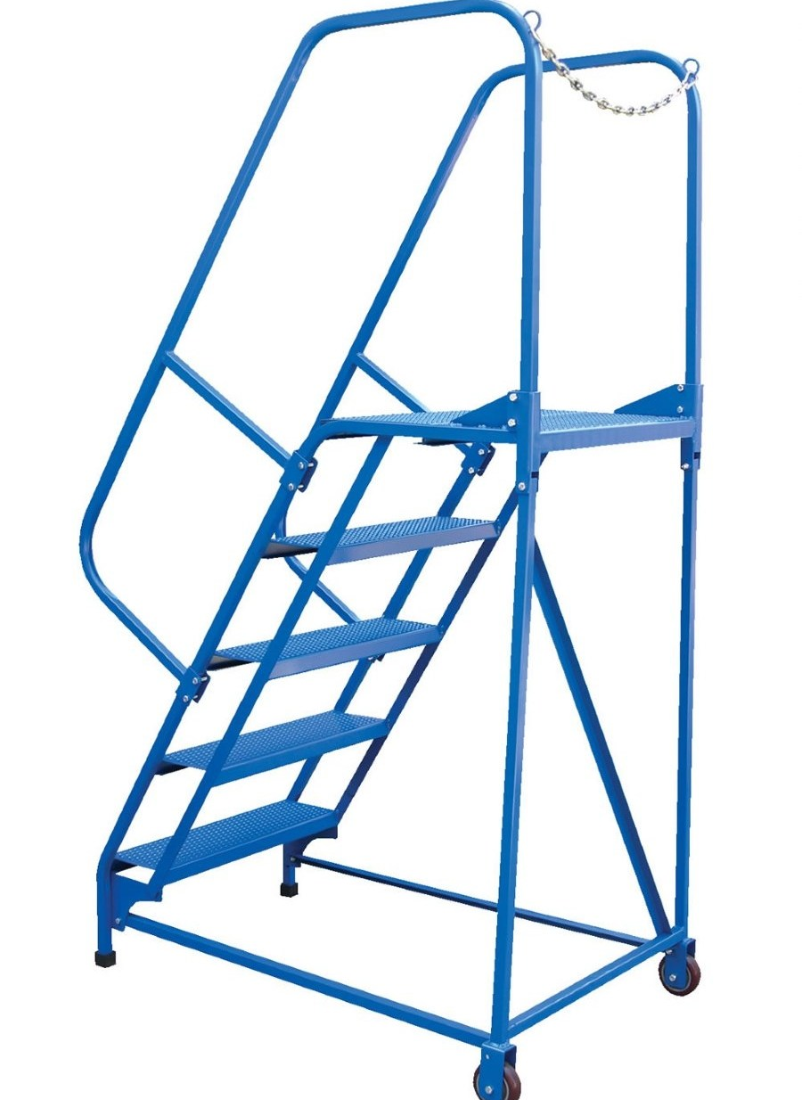 5 Step Portable Maintenance Ladder With Grip Strut Steps | Portable Stairs With Handrail | Chair | Plastic Portable | Camper | Wall Mounted | Ladder
