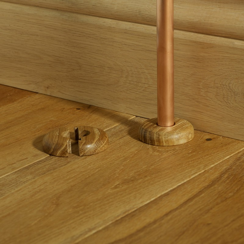 Oak Radiator Pipe Covers For Use With Wood Flooring