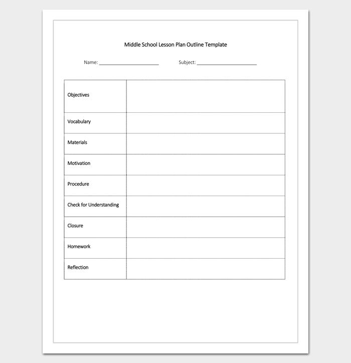 Preschool Lesson Plan Format - Lesson plan outline template