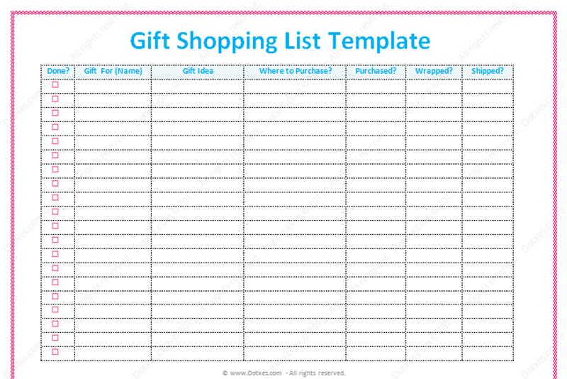 Gift List Template Word Dotxes