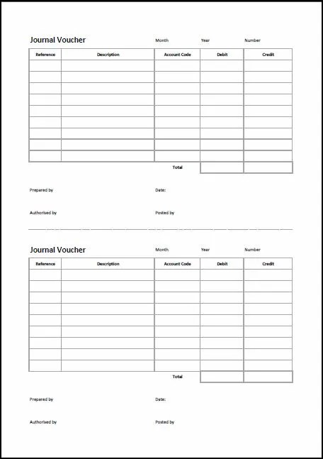 double entry journal template for word - general journal forms template