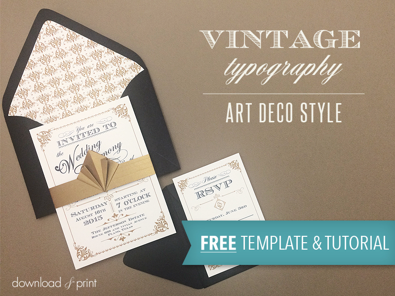 Free Template  Vintage Wedding Invitation with Art Deco Band