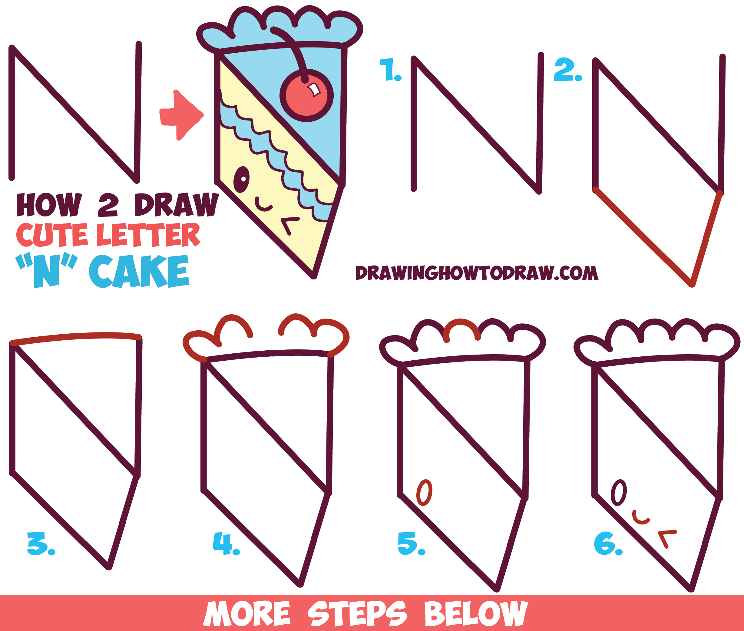 How To Draw A Cute Kawaii Piece Of Cake With A Face On It