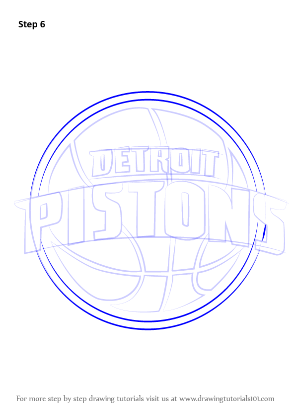 Learn How To Draw Detroit Pistons Logo Nba Step By Step