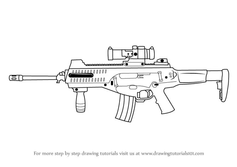 Fortnite Guns Pencil Drawing