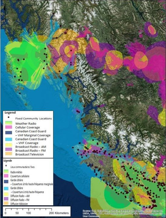 Defence Research and Development Canada   News   Reducing the Risk     This map of British Columbia s coastal region displays which areas in the  province are most at