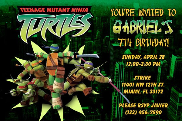 Birthday Invitations Ninja Turtles
