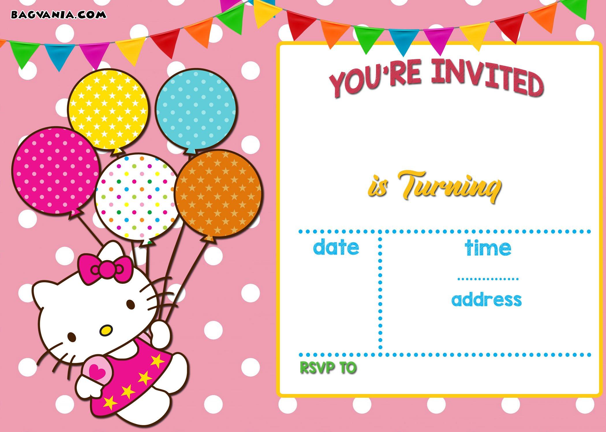 Free Personalized Hello Kitty Birthday Invitations Free