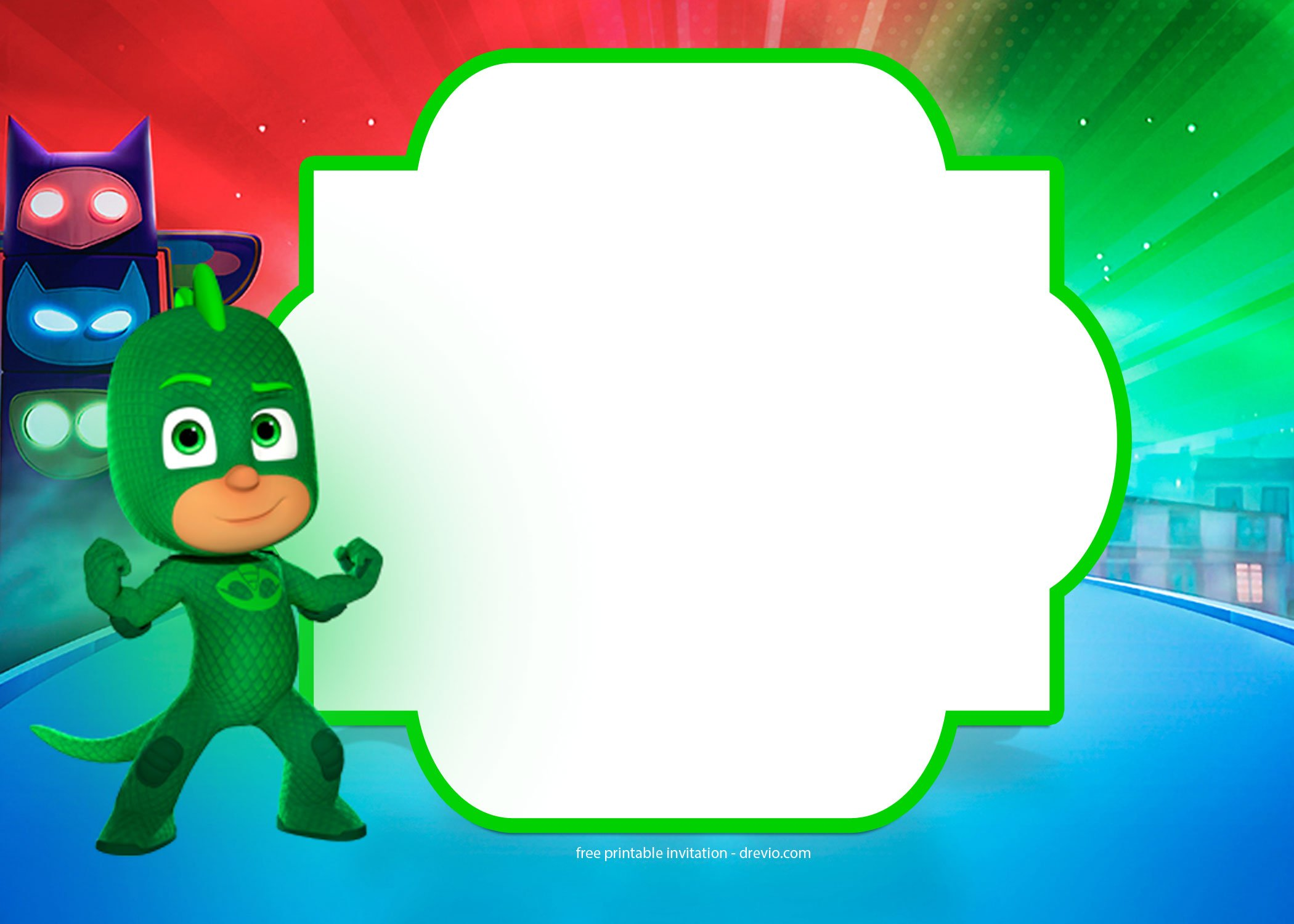 FREE PJ Masks Birthday Invitation Templates   FREE Invitation         then you will be able to add some fancy texts and your own photo on the  invitation  Here are our FREE PJ Masks Invitation templates