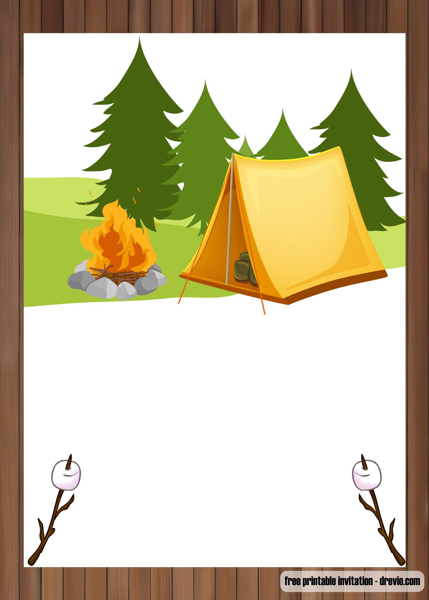 Free Printable Outdoor Camping Birthday Invitation