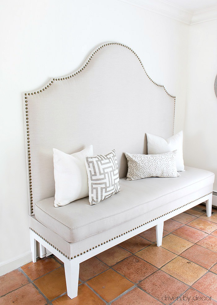 7 Steps to a DIY Upholstered Kitchen Banquette    Driven by Decor DIY upholstered kitchen banquette with nailhead trim   post includes full  tutorial
