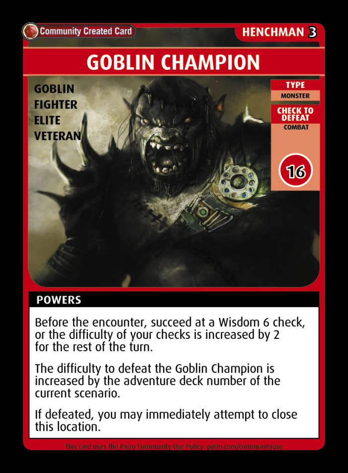 Goblin Champion Custom Card Paizo Pathfinder