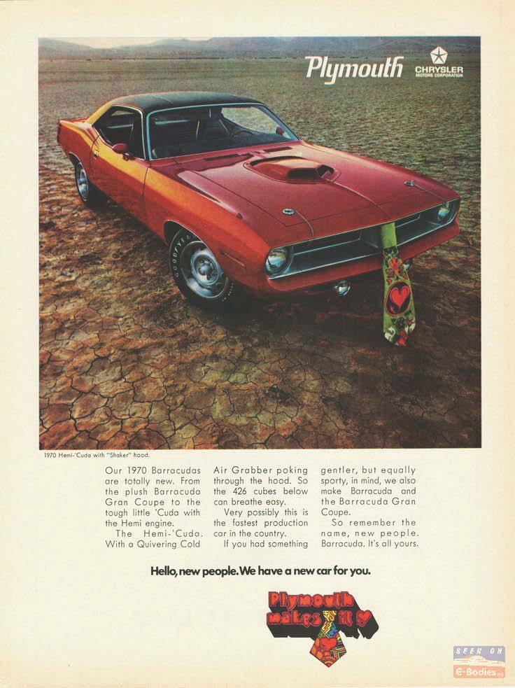 1970 Plymouth Barracuda Cuda Vintage Ads E Bodies