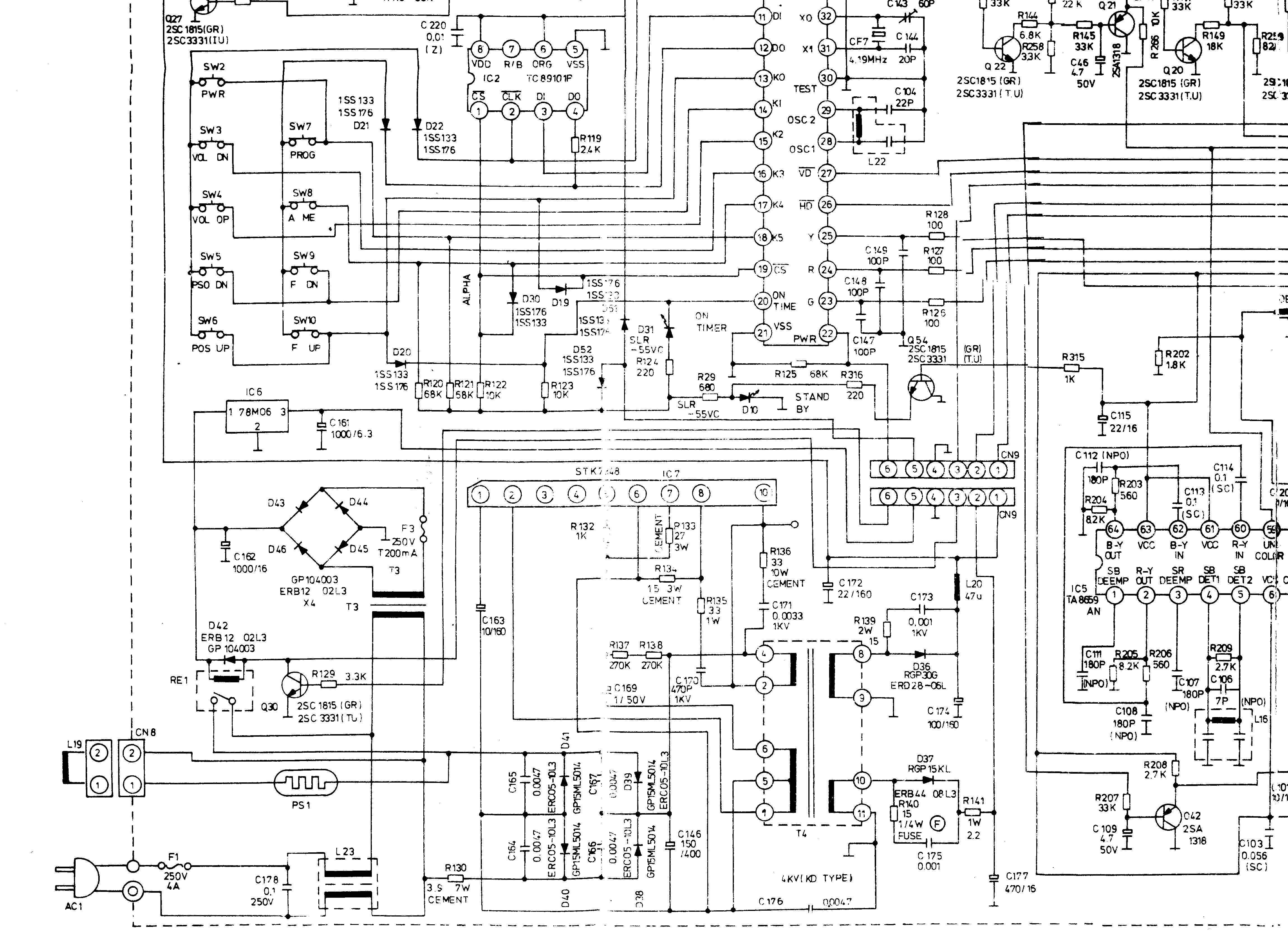 Funai Tv Schematic Diagram Circuit Lg Cf 25h84 Color Power Supply