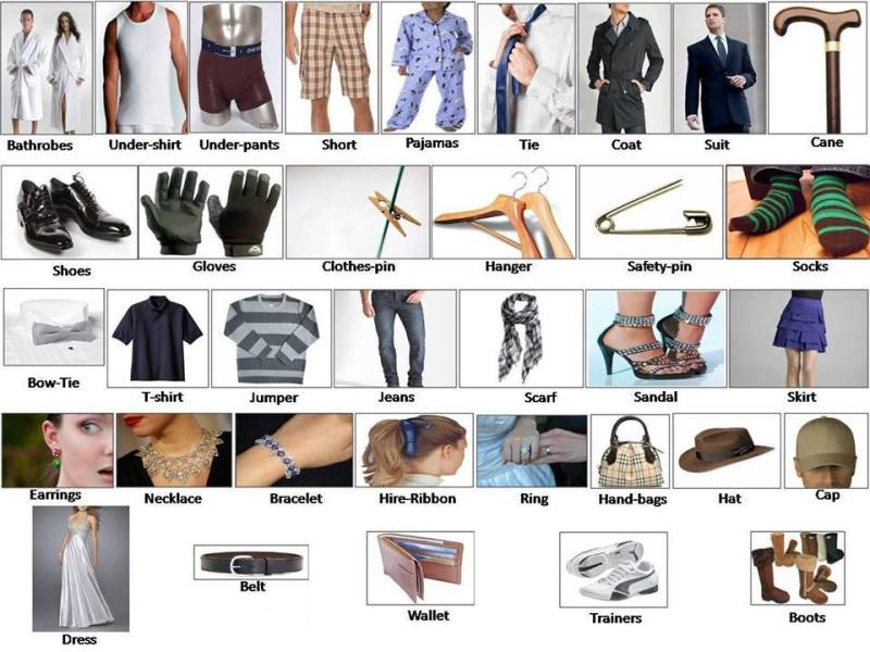 Clothes and accessory learning English clothes for men women babies Clothes and accessories vocabulary
