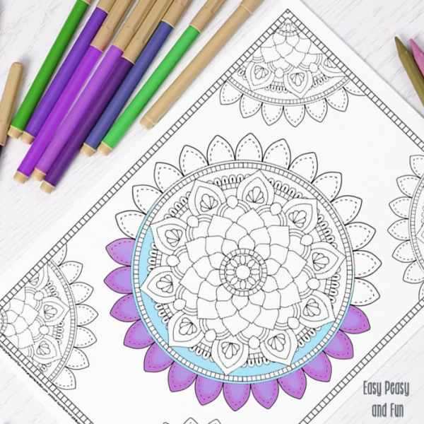 easy mandala coloring pages # 18