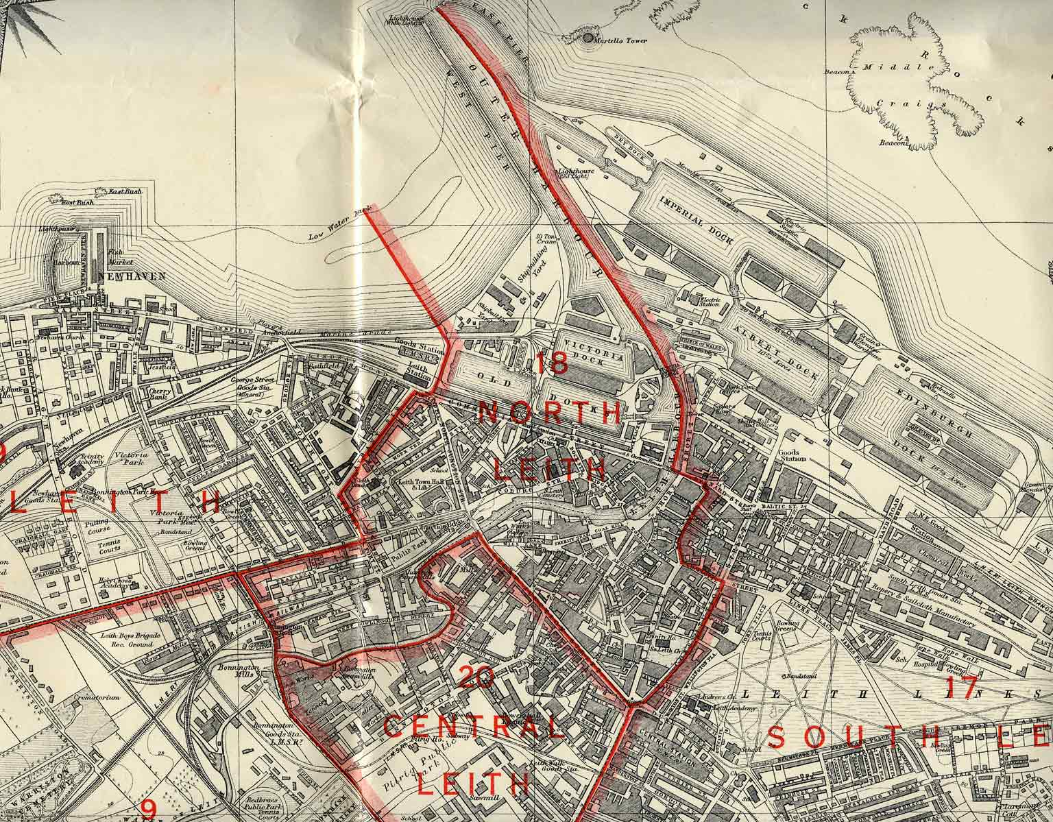 Edinburgh and Leith map  1940   Leith section
