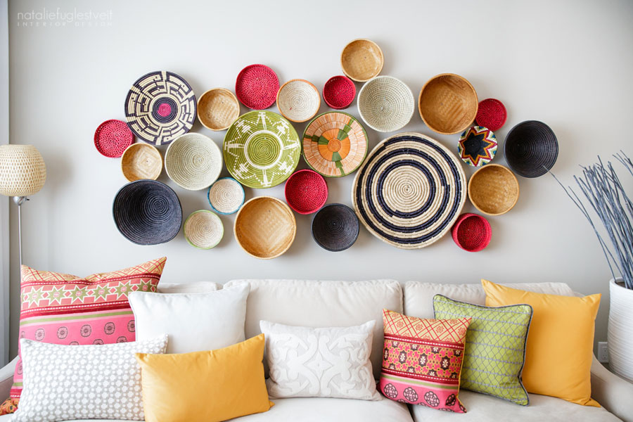 How to Use Decorative Baskets in Your Home D    cor Use baskets or the bottoms of baskets to create unique and colorful wall  decor