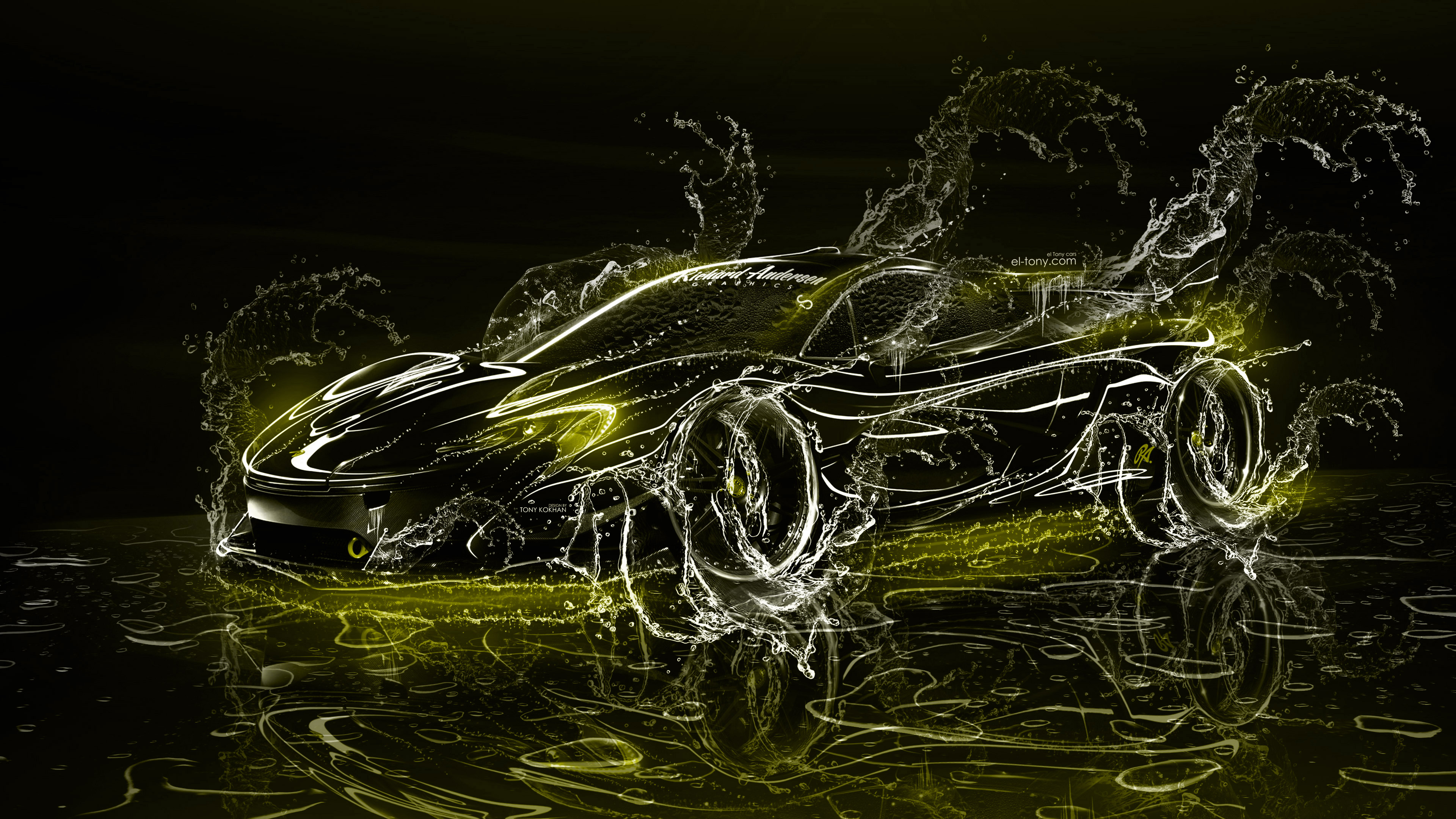 Mclaren P1 Super 3d Water Splashes Car 2017 El Tony