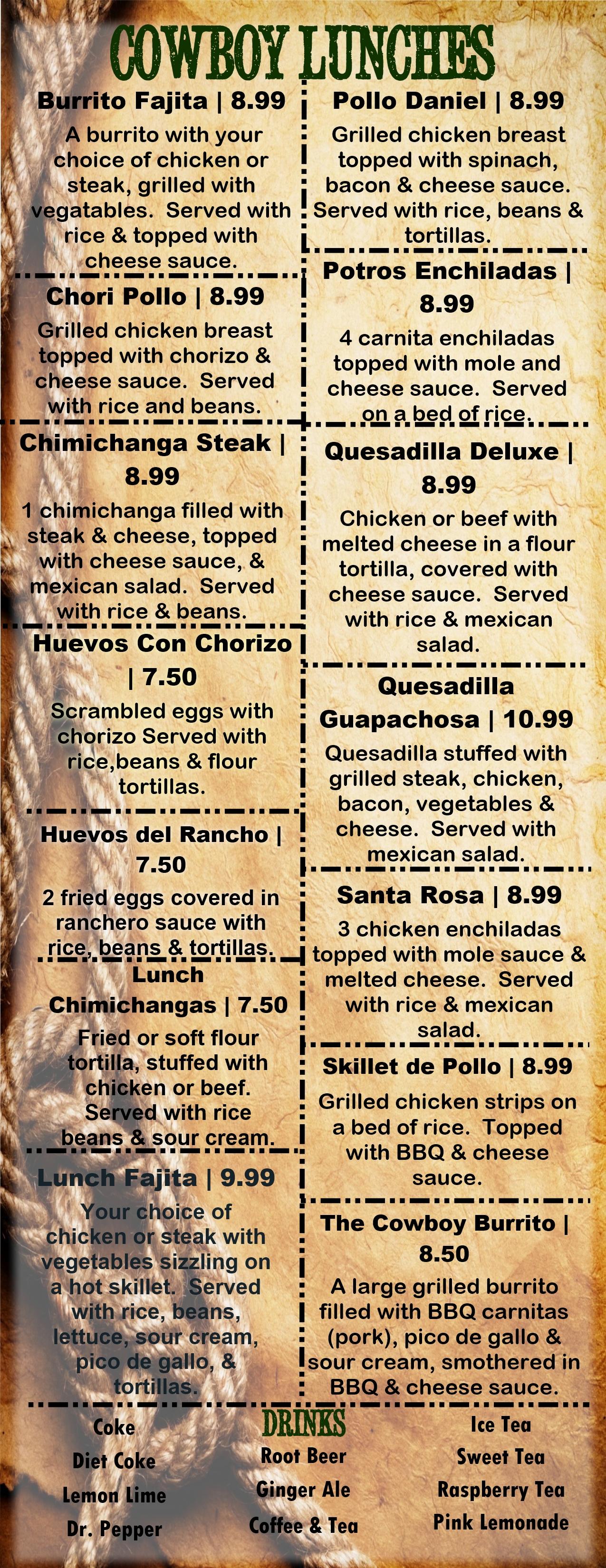 Lunch Menu El Cowboy Tex Mex Grill Amp Saloon