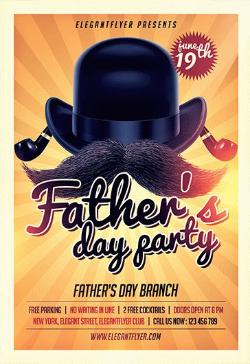 Fathers Day Party Free Flyer Psd Template By Elegantflyer