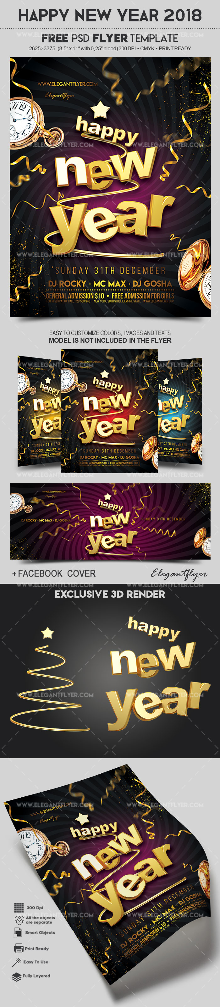 Happy New Year 2018     Free Flyer PSD Template     by ElegantFlyer Happy New Year 2018     Free Flyer PSD Template