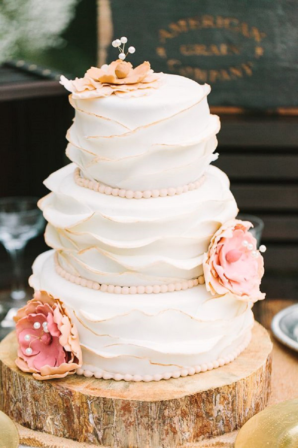 28 Inspirational Pink Wedding Cake Ideas     Elegantweddinginvites com     white ruffle and pink flower wedding cakes
