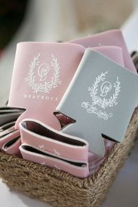 23 Most Creative Wedding Favor Koozies Ideas for Your Wedding Party     pink and grey can cooler wedding favors