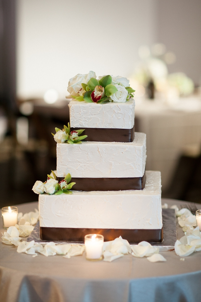 Square Wedding Cake With Brown Satin Ribbon Elizabeth