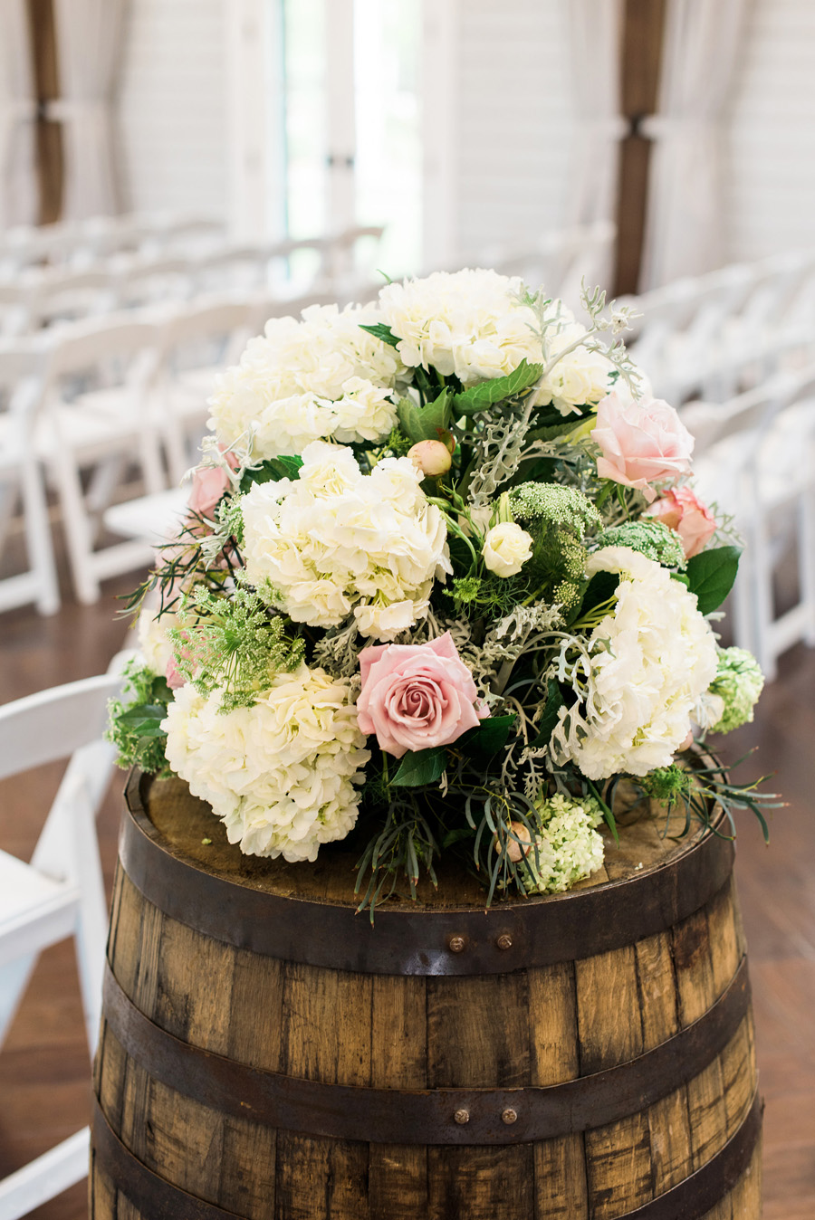 Wedding Flowers On Wine Barrels Elizabeth Anne Designs